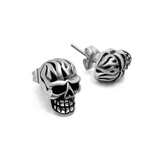Jewelry - Flame Skull Head Stud Earrings
